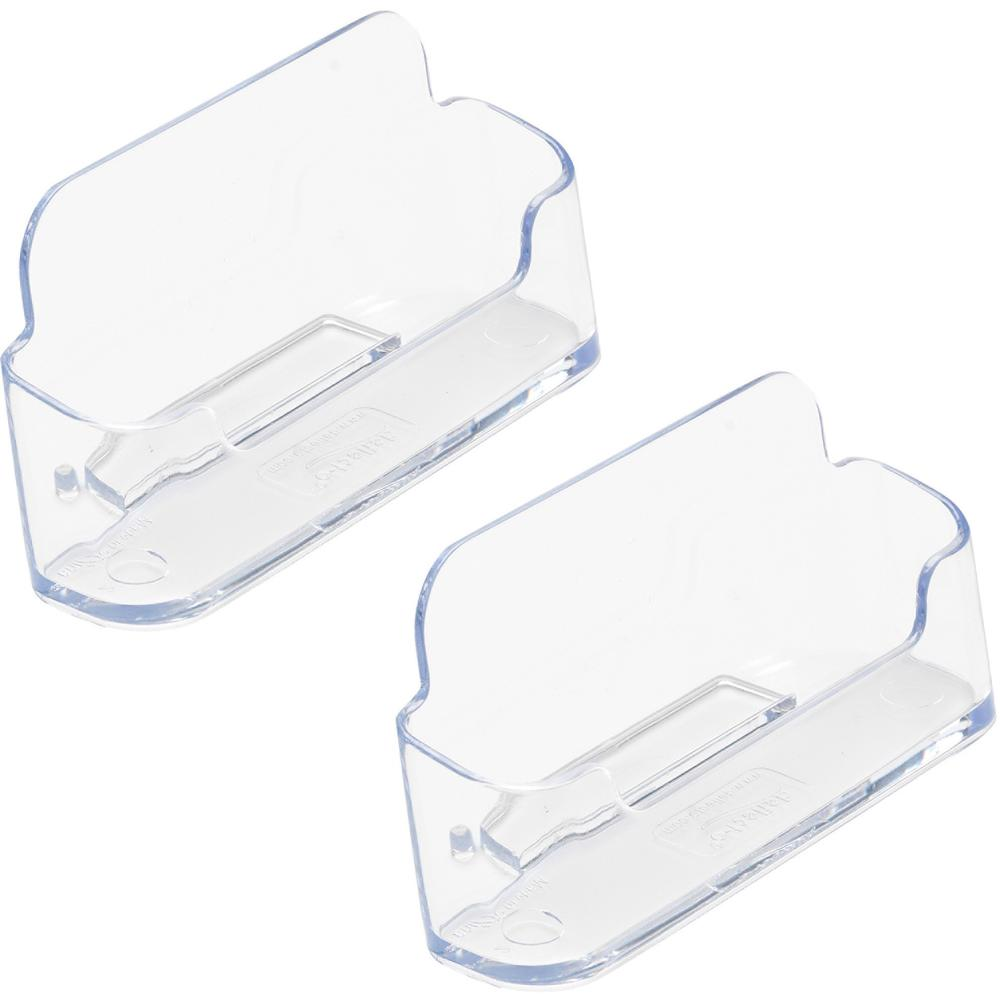 deflecto Desktop Business Card Holders - Plastic - 2 / Pack - Clear