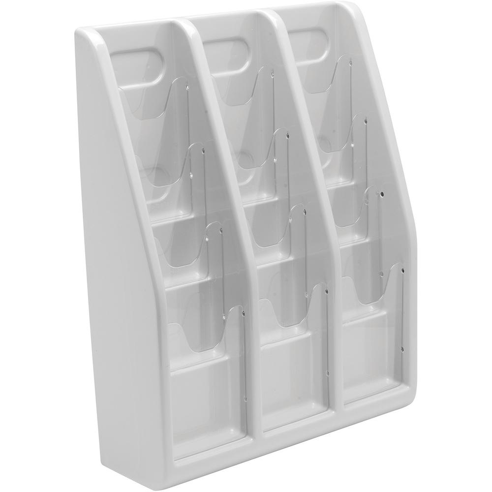 """Deflecto Multi-Compartment Literature Display - 12 Pocket(s) - 19.8"""" Height x 15.8"""" Width x 5"""" Depth - Desktop - Durable, Lightweight - Gray - Plastic - 1 Each. Picture 8"""