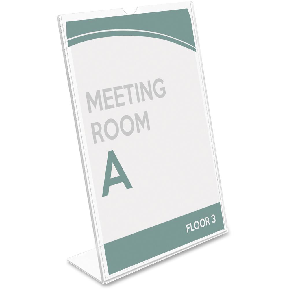 """Deflecto Superior Image Slanted Sign Holders - 1 Each - 7"""" Width x 5"""" Height - Top Loading - Plastic - Clear. Picture 6"""