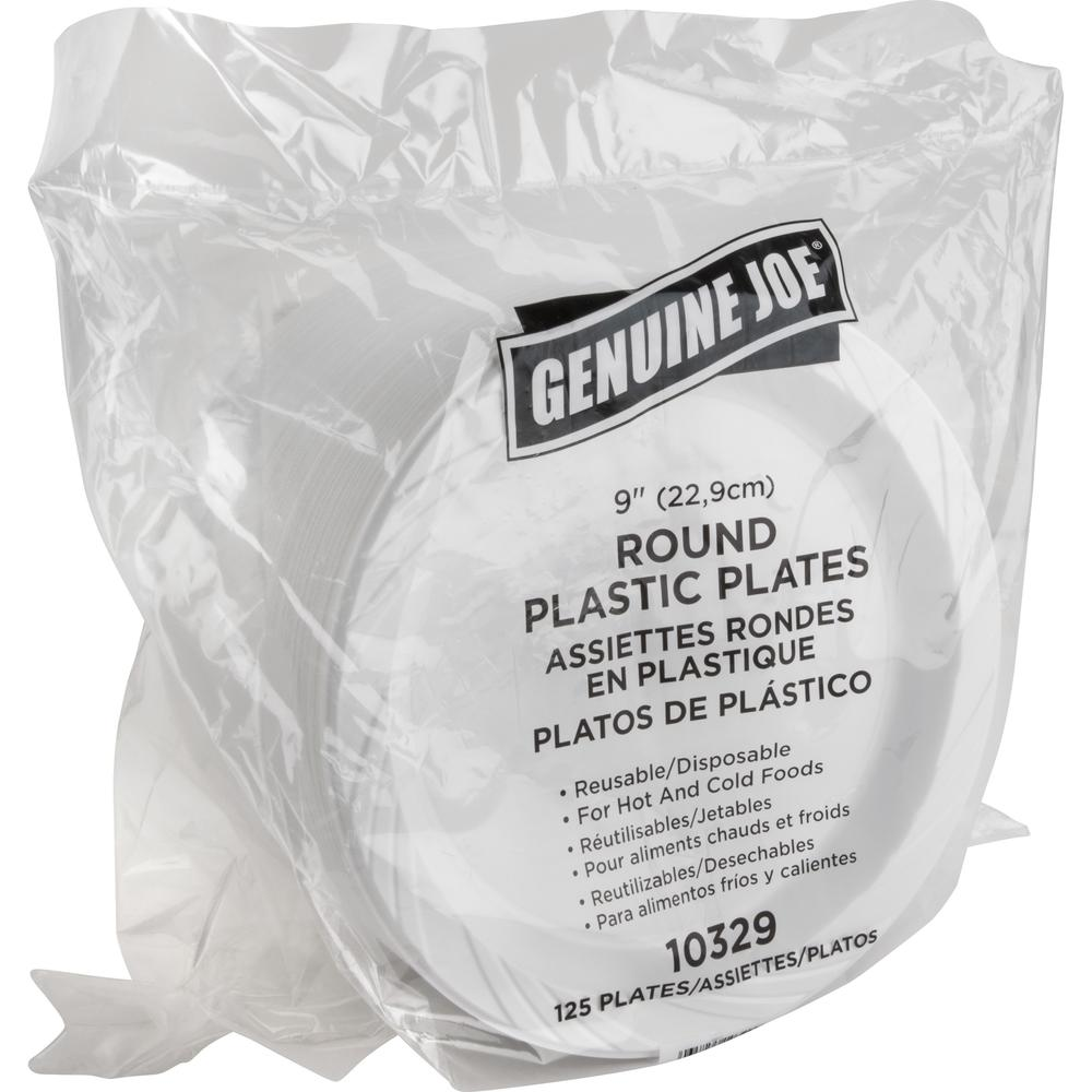 "Genuine Joe Reusable Plastic White Plates - 9"" Diameter Plate - Plastic - White - 125 Piece(s) / Pack. Picture 5"
