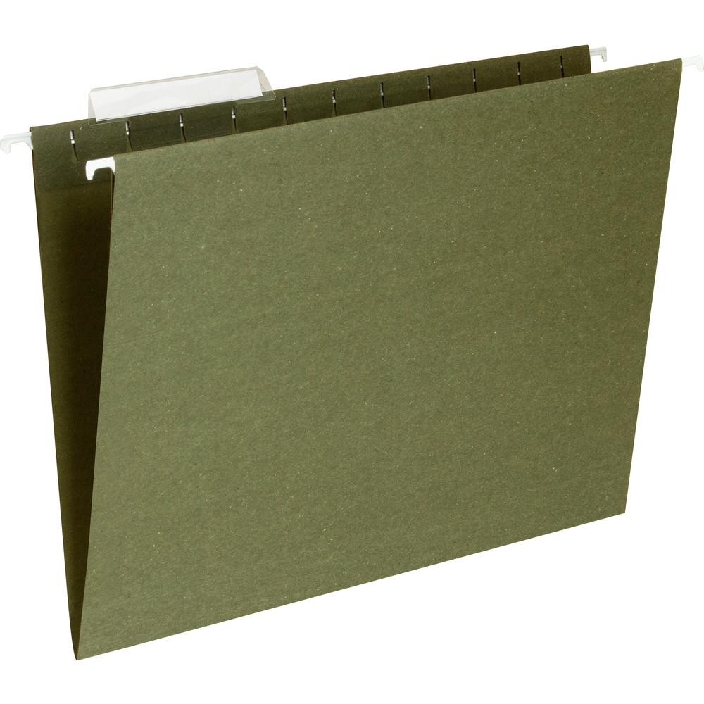 "Business Source 1/3 Cut Standard Hanging File Folders - Letter - 8 1/2"" x 11"" Sheet Size - 1/3 Tab Cut - 11 pt. Folder Thickness - Standard Green - Recycled - 25 / Box. Picture 4"