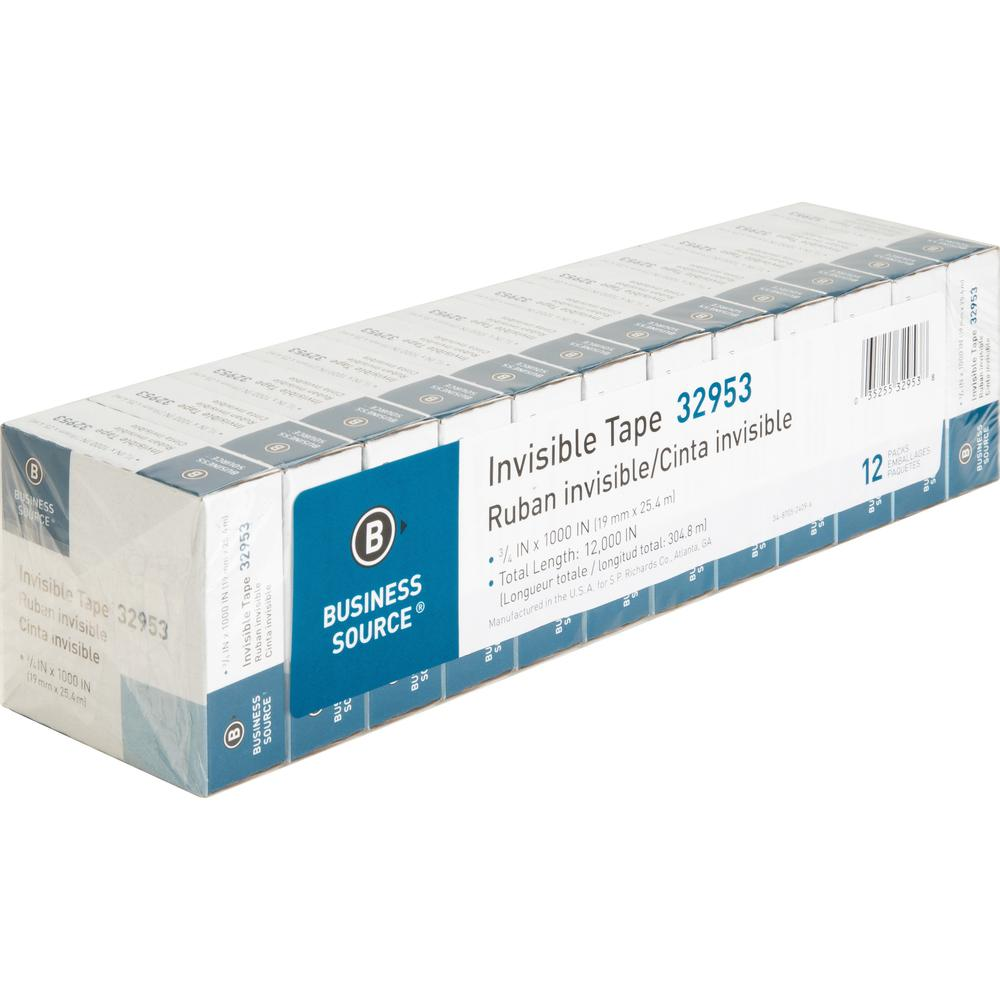 """Business Source Premium Invisible Tape Value Pack - 27.78 yd Length x 0.75"""" Width - 1"""" Core - 12 / Pack - Clear. Picture 6"""
