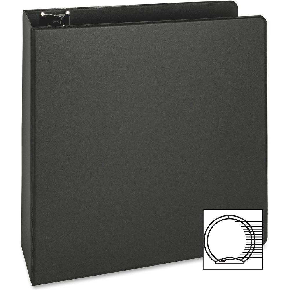 "Business Source Basic Round-ring Binder - 3"" Binder Capacity - Letter - 8 1/2"" x 11"" Sheet Size - 3 x Round Ring Fastener(s) - Inside Front & Back Pocket(s) - Vinyl - Black - 1.20 lb - Exposed Rivet, . Picture 4"