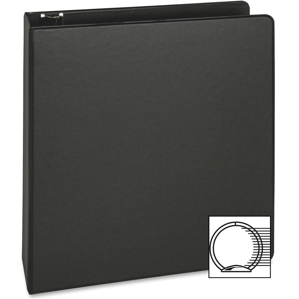 "Business Source Basic Round-ring Binder - 2"" Binder Capacity - Letter - 8 1/2"" x 11"" Sheet Size - 3 x Round Ring Fastener(s) - Inside Front & Back Pocket(s) - Vinyl - Black - 1 lb - Recycled - Exposed. Picture 7"