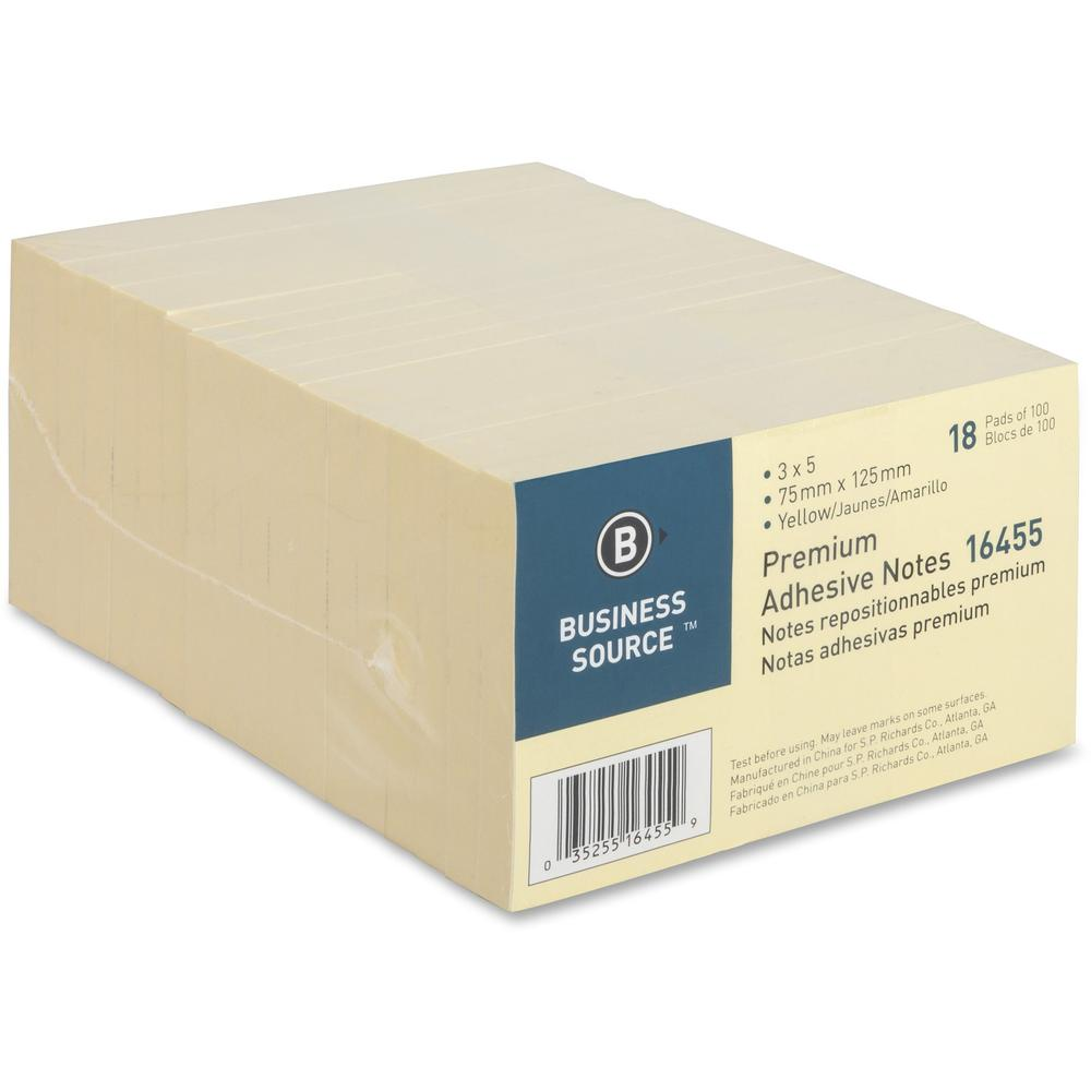 """Business Source Repositionable Notes - 3"""" x 5"""" - Rectangle - Yellow - Repositionable, Solvent-free Adhesive - 18 / Pack. Picture 4"""