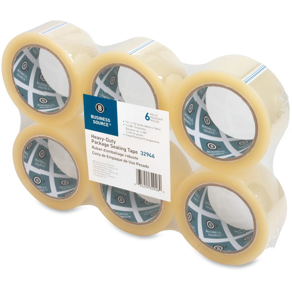 "Business Source Heavy-duty Packaging/Sealing Tape - 110 yd Length x 1.88"" Width - 3"" Core - 1.60 mil - 6 / Pack - Clear. Picture 5"