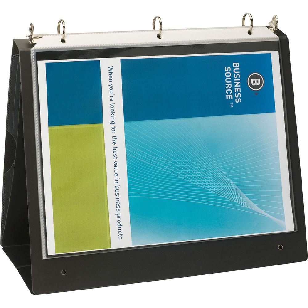 "Business Source Presentation Binder - 1"" Binder Capacity - Letter - 8 1/2"" x 11"" Sheet Size - Ring Fastener(s) - Internal Pocket(s) - Black - Recycled - Business Card Holder, Label Holder - 1 Each. Picture 7"