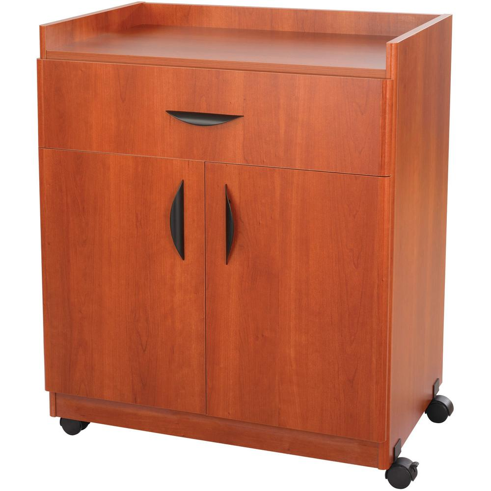 """Safco Deluxe Mobile Machine Stands - 200 lb Load Capacity - 36.3"""" Height x 30"""" Width x 20.5"""" Depth - Laminate - Particleboard, Wood - Cherry. Picture 3"""