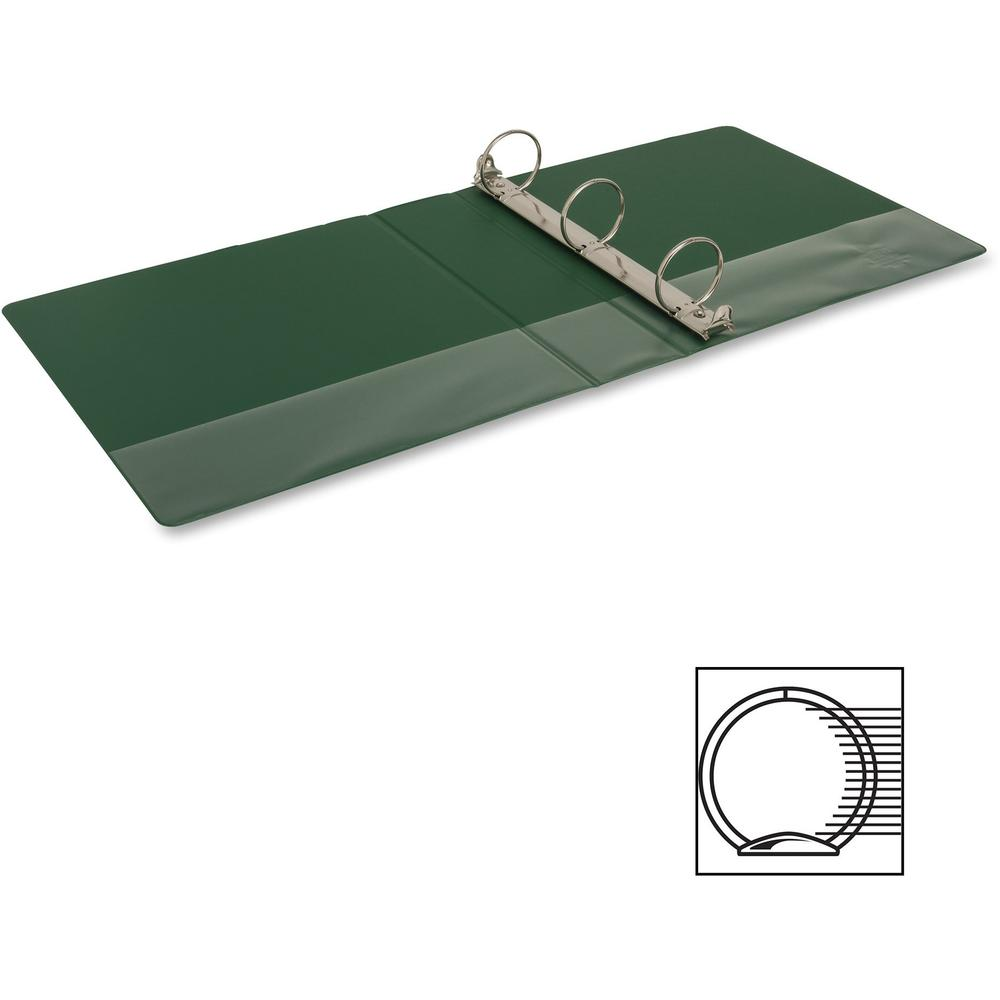 """Business Source Basic Round-ring Binder - 2"""" Binder Capacity - Letter - 8 1/2"""" x 11"""" Sheet Size - 3 x Round Ring Fastener(s) - Vinyl - Green - Open and Closed Triggers - 1 Each. Picture 3"""