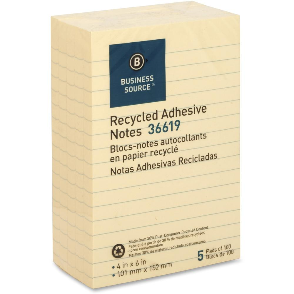 """Business Source Yellow Adhesive Notes - 4"""" x 6"""" - Rectangle - Ruled - Yellow - Self-adhesive, Removable - 5 / Pack. Picture 5"""
