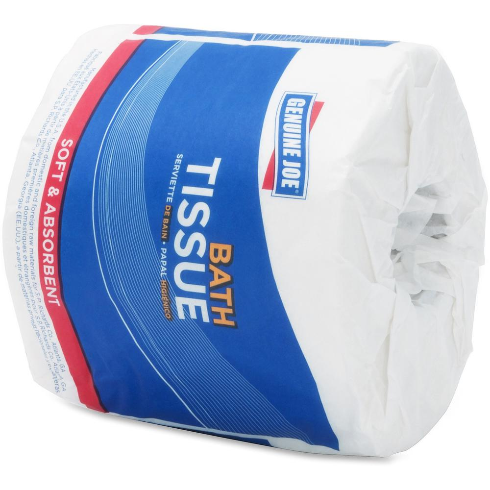 """Genuine Joe Embossed Roll Bath Tissue - 2 Ply - 4"""" x 4"""" - 550 Sheets/Roll - White - Soft, Absorbent, Perforated - For Restroom - 80 / Carton"""