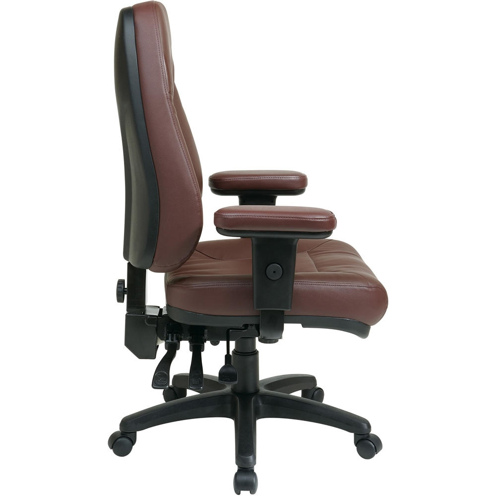 Office Star High Back Eco Leather Chair Leather Burgundy
