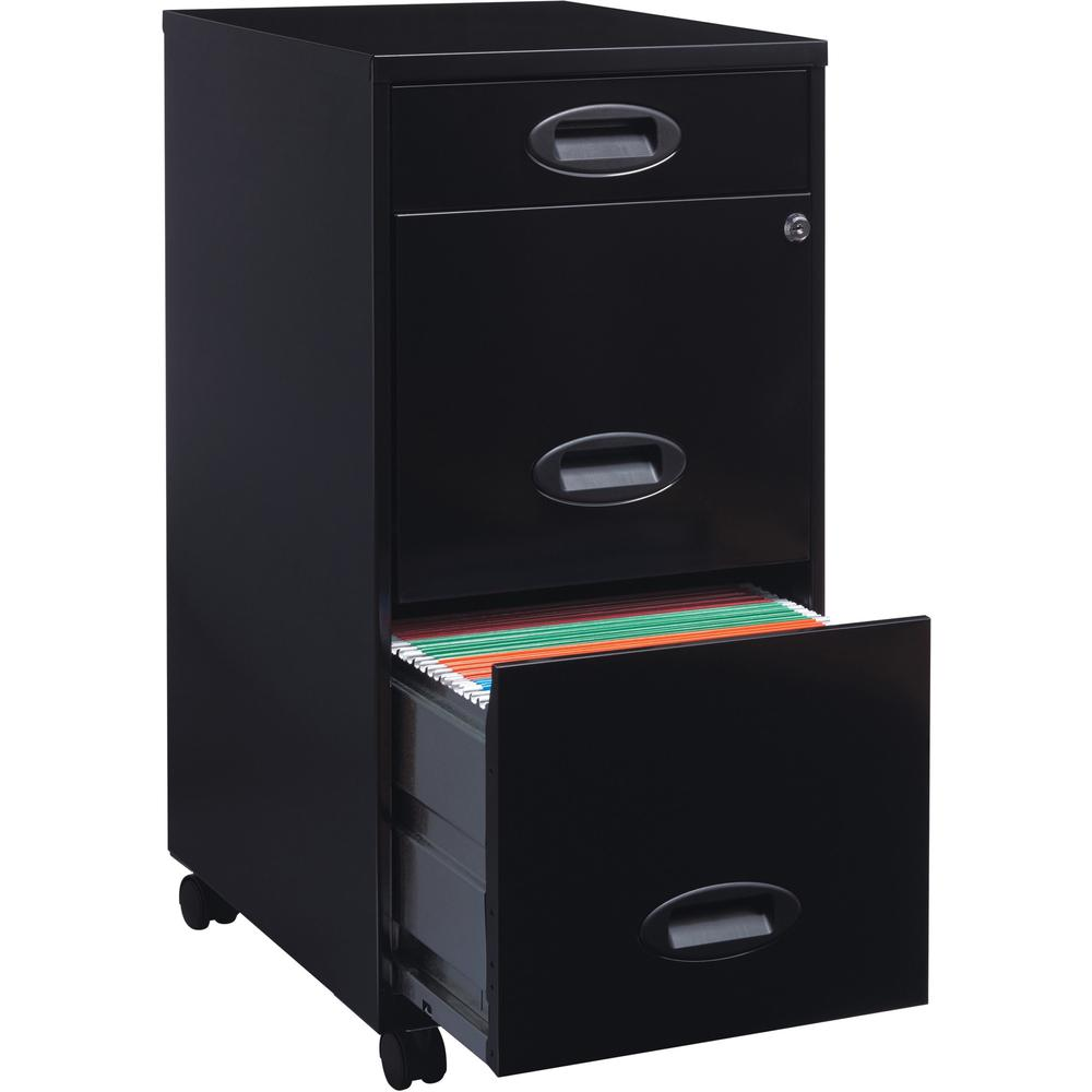 """Lorell SOHO 18"""" 3-Drawer File Cabinet - 14.3"""" x 18"""" x 27"""" - 3 x Drawer(s) for Accessories, File - Letter - Locking Drawer, Glide Suspension - Black - Baked Enamel - Plastic, Steel - Recycled - Assembl. Picture 11"""
