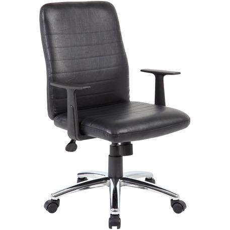 Boss B431-BK Retro Task Chair with Black T-Arms - Black Vinyl Seat - Black Vinyl Back - Chrome, Black Chrome Frame - 5-star Base - 1 Each. Picture 10