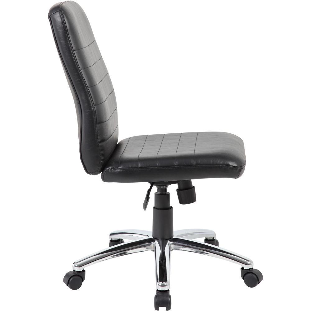 Boss B430 Task Chair - Black Vinyl Seat - Black Vinyl Back - Chrome, Black Chrome Frame - 5-star Base - 1 Each. Picture 2