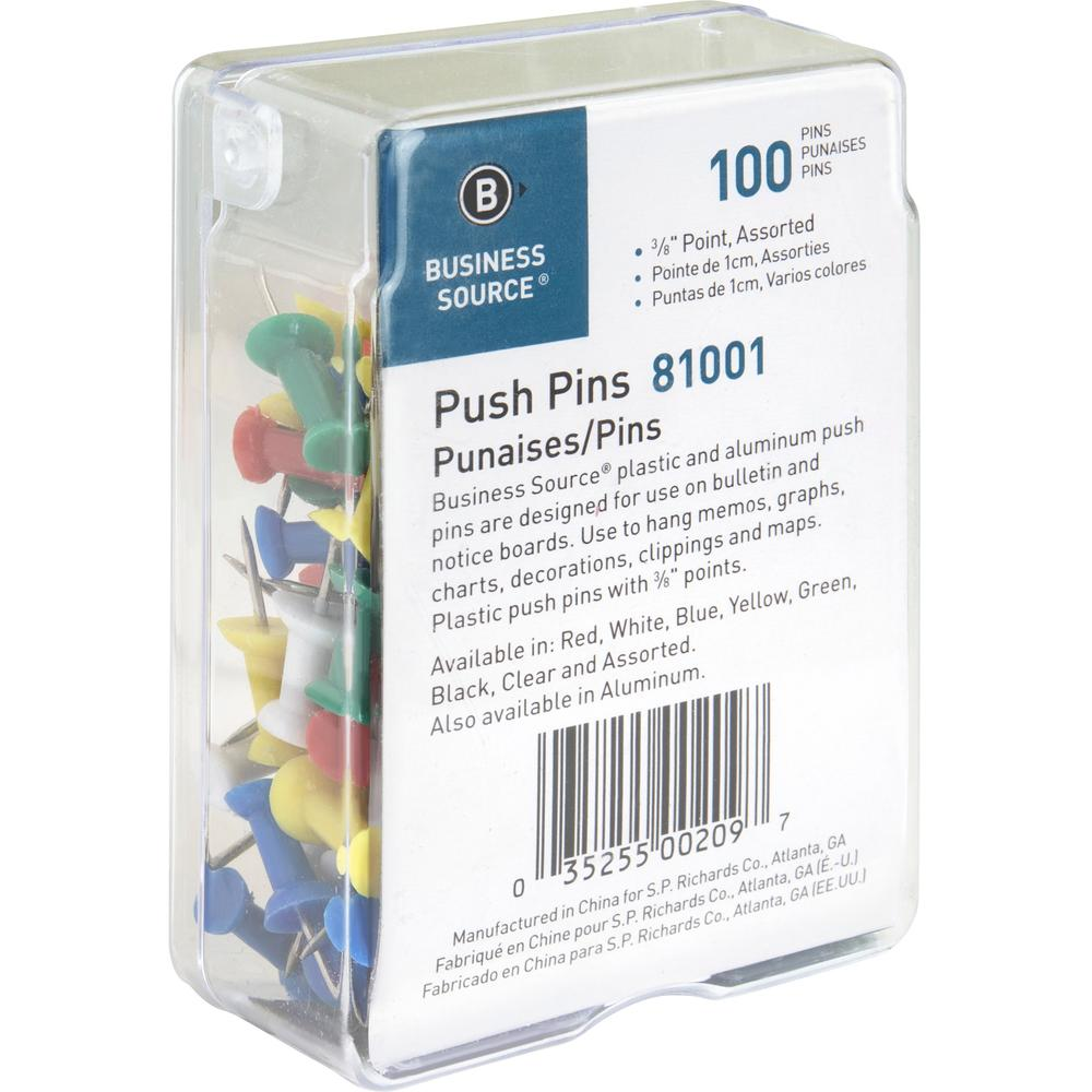 """Business Source 1/2"""" Head Push Pins - 0.50"""" Head - 100 / Box - Assorted - Steel. Picture 7"""