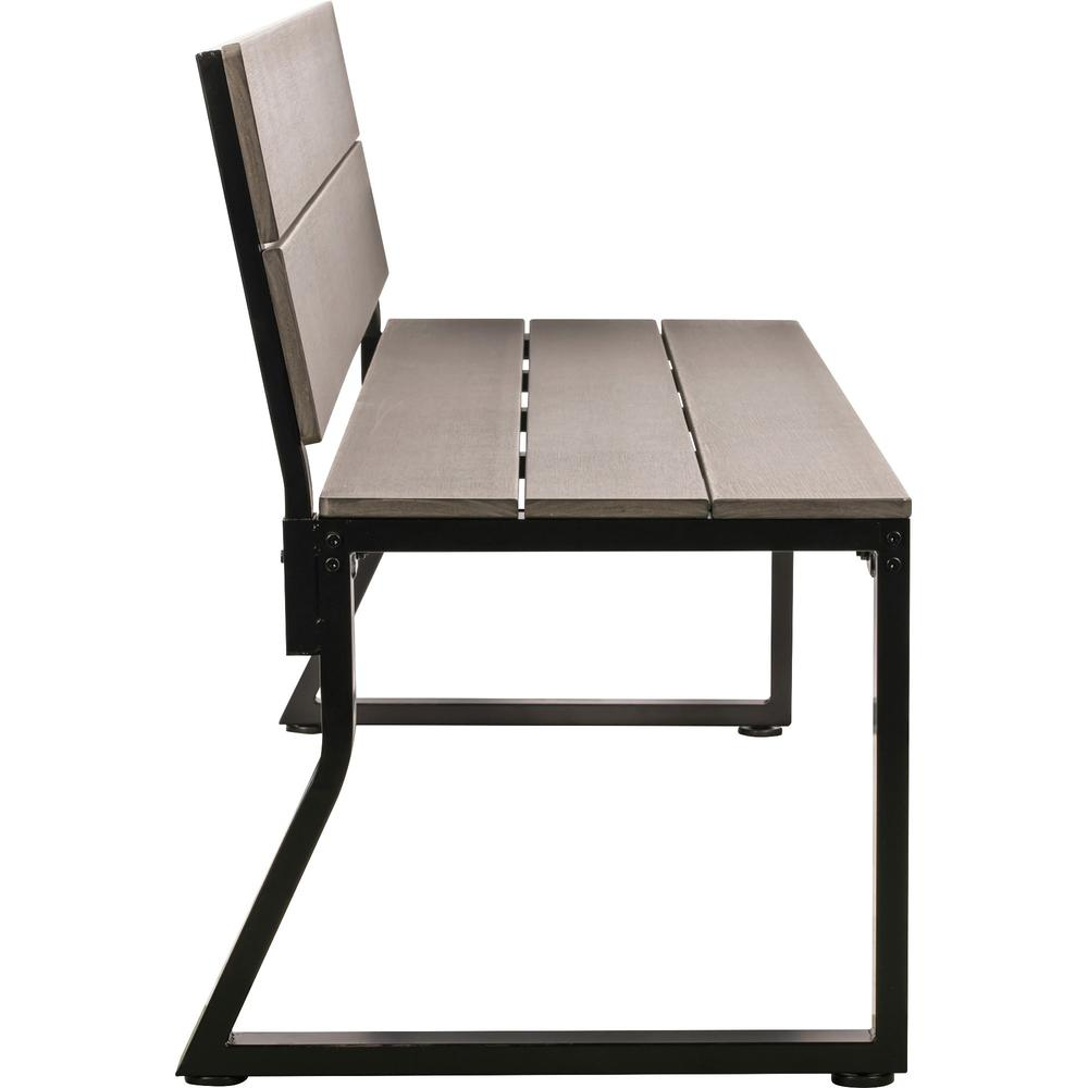 Lorell Charcoal Outdoor Bench with Backrest - Charcoal Faux Wood, Polystyrene Seat - Charcoal Faux Wood, Polystyrene Back - 1 Each. Picture 5