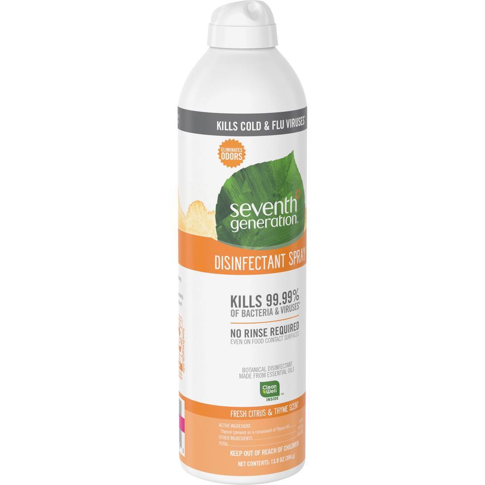 Seventh Generation Disinfectant Cleaner - Spray - 13.9 fl oz (0.4 quart) - Fresh Citrus & Thyme Scent - 8 / Carton - Clear. Picture 3