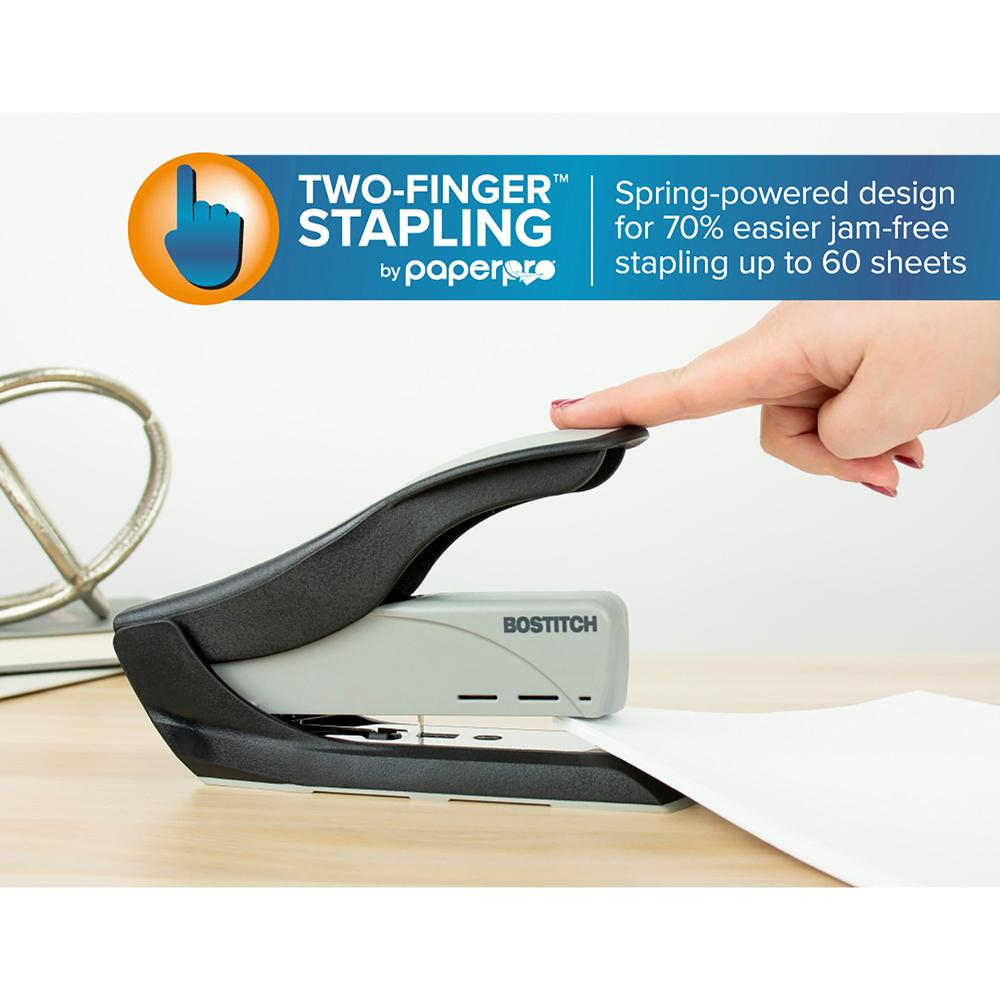 """Bostitch Spring-Powered 60 Heavy-Duty Stapler - 60 Sheets Capacity - 5/16"""" , 3/8"""" Staple Size - Black, Gray. Picture 6"""