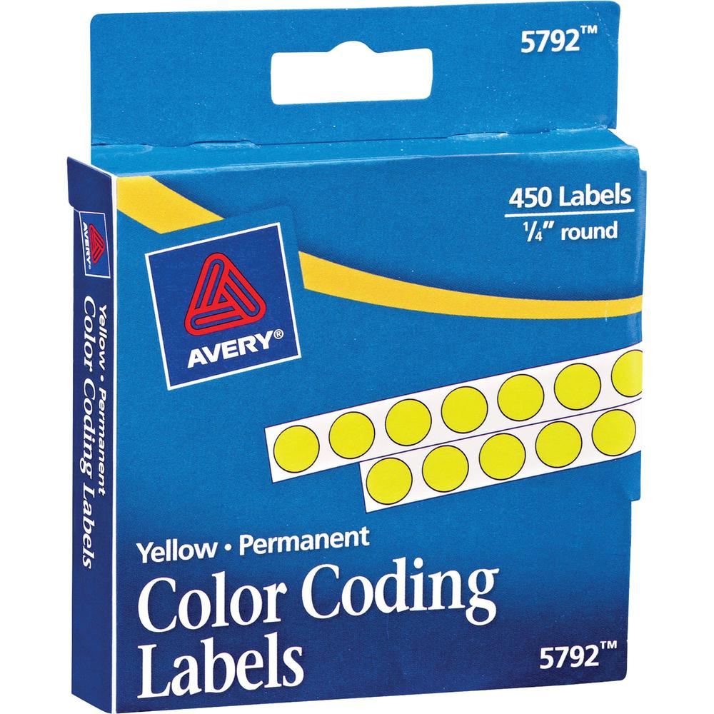 """Avery® 1/4"""" Color-Coding Labels - 1/4"""" Diameter - Permanent Adhesive - Round - Yellow - 450 / Pack. Picture 4"""