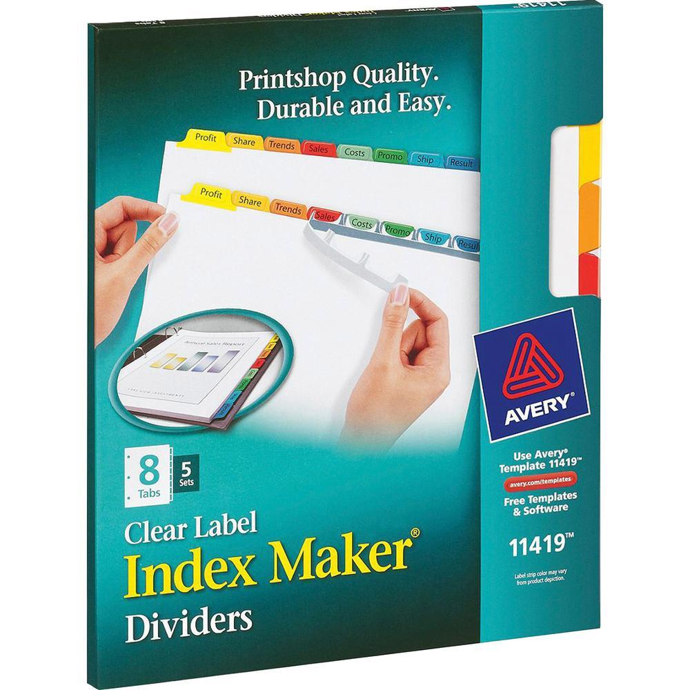 "Avery® Index Maker Index Divider - 40 x Divider(s) - 8 - 8 Tab(s)/Set - 8.5"" Divider Width x 11"" Divider Length - 3 Hole Punched - White Paper Divider - Multicolor Paper Tab(s) - 5 / Set. Picture 8"