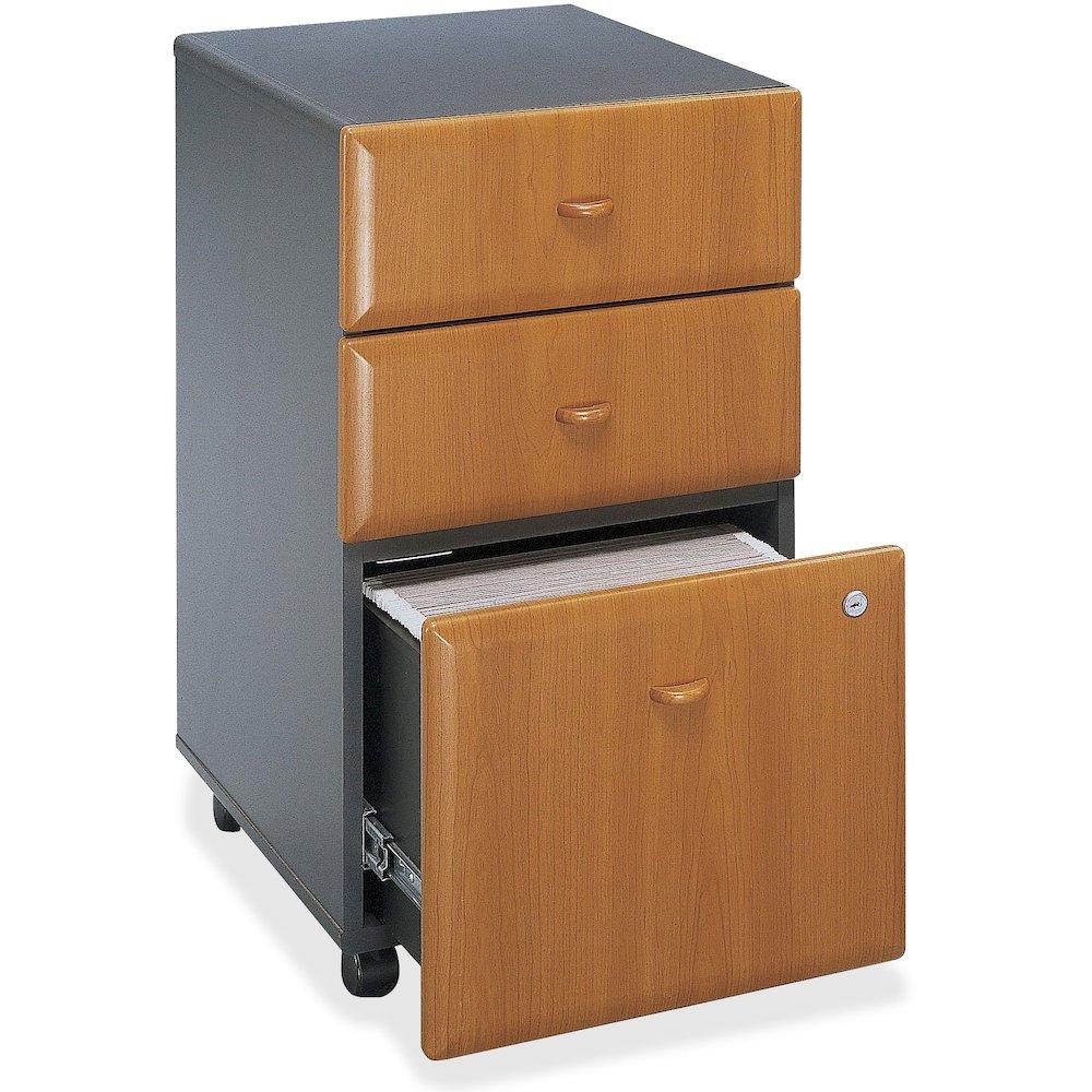 "Bush Business Furniture Series A 3 Drawer Mobile Pedestal - Assembled - 15.5"" x 20.3"" x 28.2"" - 3 x File Drawer(s) - Material: Pressboard, Melamine, Hardwood, Engineered Wood, Wood - Finish: Laminate,. Picture 6"