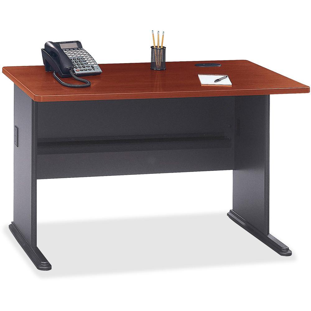 Bush Business Furniture Series A 48W Desk, Hansen Cherry/Galaxy. Picture 6