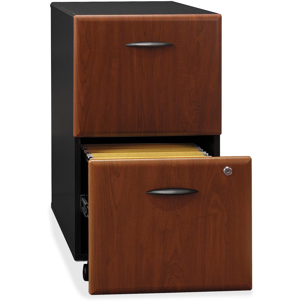 Bush Business Furniture Series A 2 Drawer Mobile File Cabinet, Assembled, Hansen Cherry/Galaxy. Picture 3