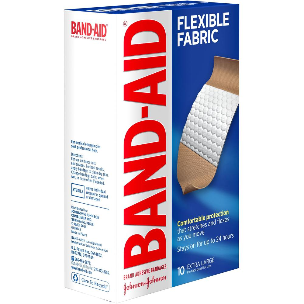 "Band-Aid Flex Extra Large Bandages - 1.25"" x 4"" - 10/Box - Tan. Picture 5"