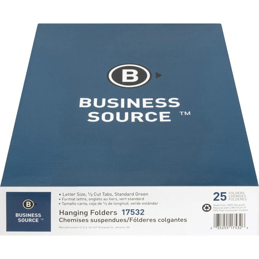 "Business Source 1/3 Cut Standard Hanging File Folders - Letter - 8 1/2"" x 11"" Sheet Size - 1/3 Tab Cut - 11 pt. Folder Thickness - Standard Green - Recycled - 25 / Box. Picture 11"