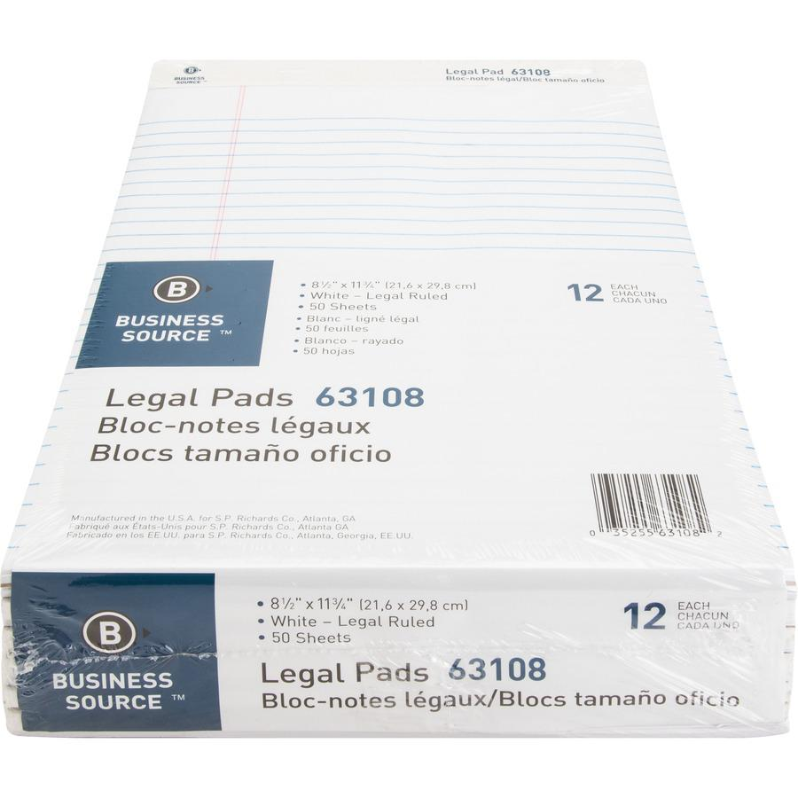 """Business Source Micro-Perforated Legal Ruled Pads - 50 Sheets - 0.34"""" Ruled - 16 lb Basis Weight - 8 1/2"""" x 11 3/4"""" - White Paper - Micro Perforated, Easy Tear, Sturdy Back - 12 / Dozen. Picture 3"""