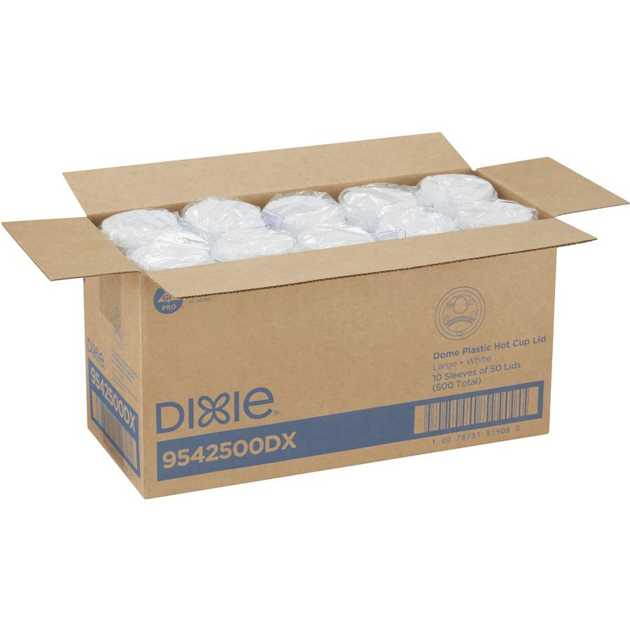 Dixie Large Hot Cup Lids by GP Pro - Dome - Plastic - 50 / Pack - White. Picture 6