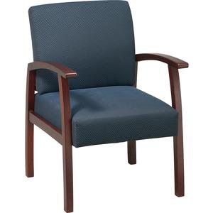 Lorell Deluxe Guest Chair - Cherry Frame - Midnight Blue - 1 Each. Picture 6