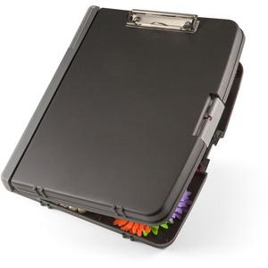 "OIC Triple File Clipboard Storage Box - 8 1/2"" x 11"" - Spring Clip - Black - 1 Each. Picture 4"