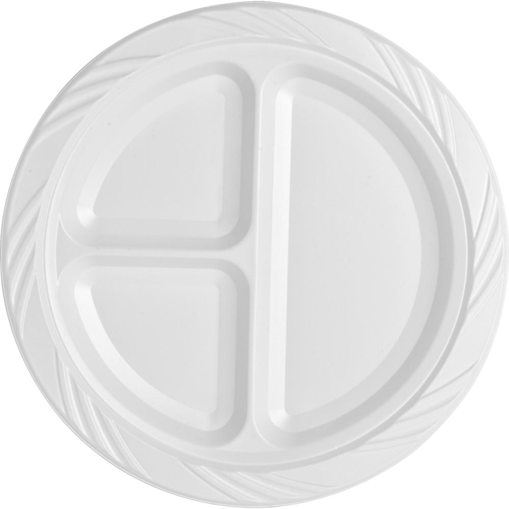 Genuine Joe 3 Section Plastic Plates 9 Quot Diameter Plate