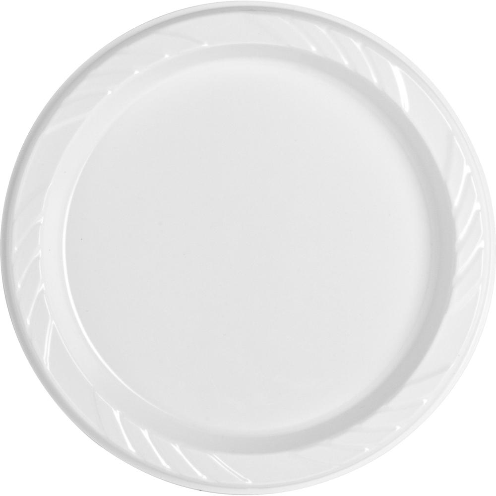 "Genuine Joe Reusable Plastic White Plates - 6"" Diameter Plate - Plastic - White - 125 Piece(s) / Pack. Picture 4"