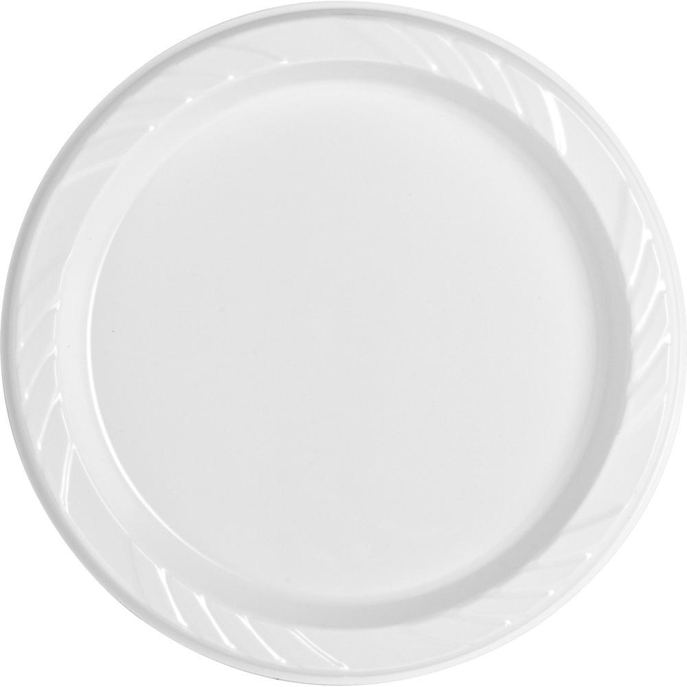 "Genuine Joe Reusable Plastic White Plates - 9"" Diameter Plate - Plastic - White - 125 Piece(s) / Pack. Picture 7"