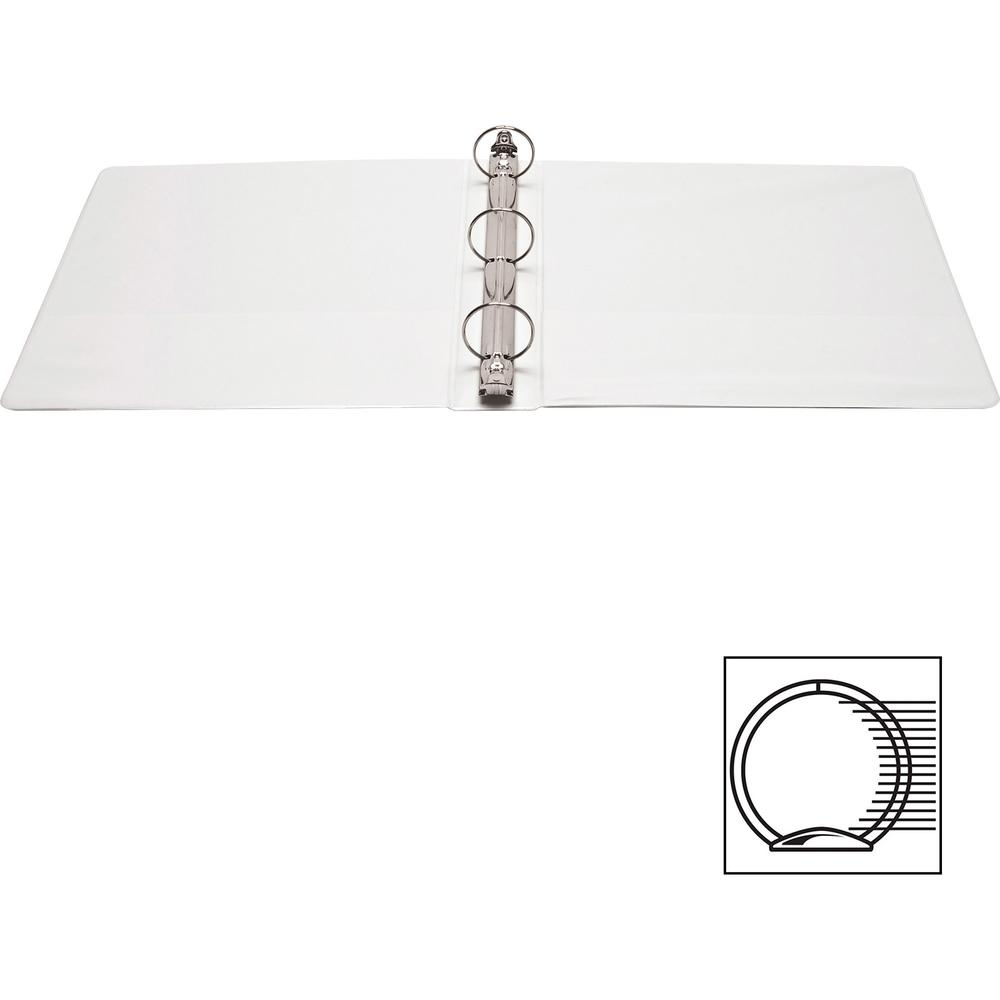 """Business Source Round Ring Standard View Binders - 1 1/2"""" Binder Capacity - Letter - 8 1/2"""" x 11"""" Sheet Size - 350 Sheet Capacity - 3 x Ring Fastener(s) - 2 Internal Pocket(s) - White - 8 oz - Conceal. Picture 3"""