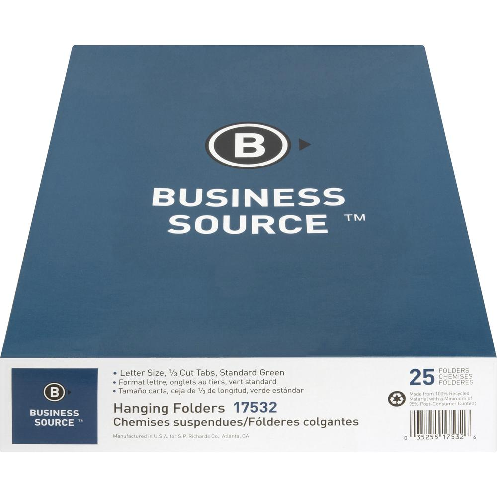 "Business Source 1/3 Cut Standard Hanging File Folders - Letter - 8 1/2"" x 11"" Sheet Size - 1/3 Tab Cut - 11 pt. Folder Thickness - Standard Green - Recycled - 25 / Box. Picture 7"
