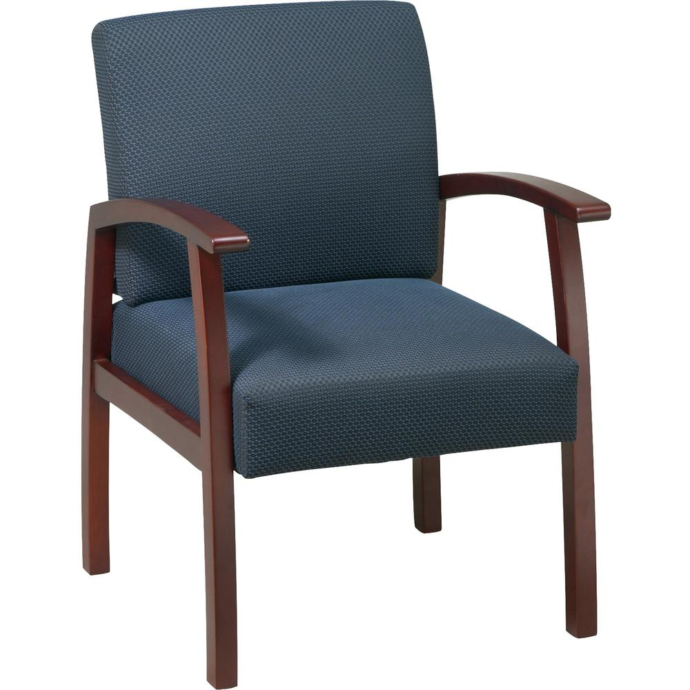 Lorell Deluxe Guest Chair - Cherry Frame - Midnight Blue - 1 Each. Picture 3