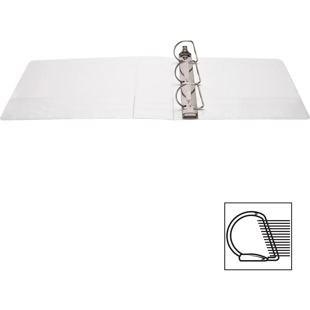 """Business Source Basic D-Ring White View Binders - 3"""" Binder Capacity - Letter - 8 1/2"""" x 11"""" Sheet Size - D-Ring Fastener(s) - Polypropylene - White - 1.70 lb - Clear Overlay - 1 Each. Picture 7"""
