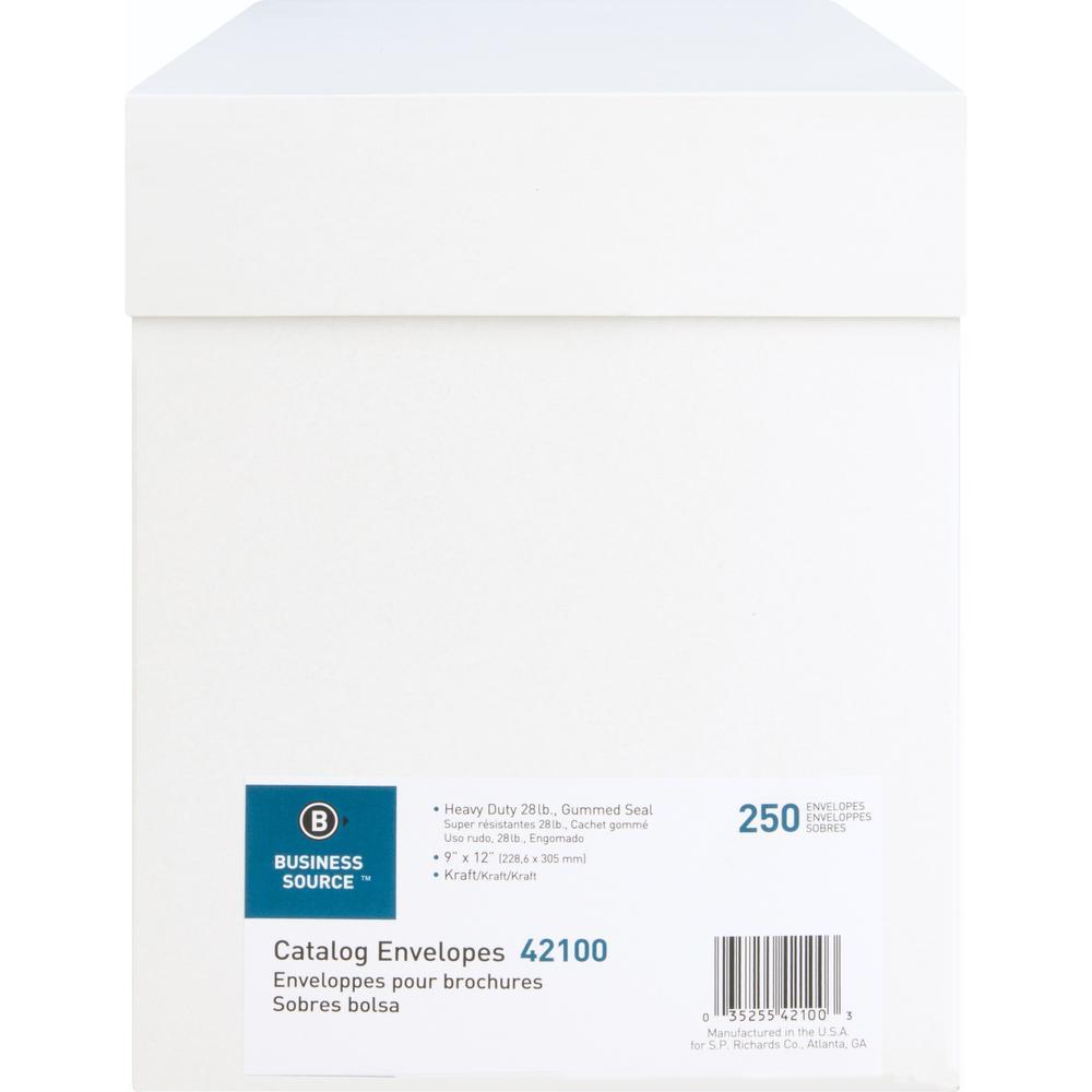 "Business Source Kraft Gummed Catalog Envelopes - Catalog - #10 1/2 - 9"" Width x 12"" Length - 28 lb - Gummed - Kraft - 250 / Box - Kraft. Picture 10"
