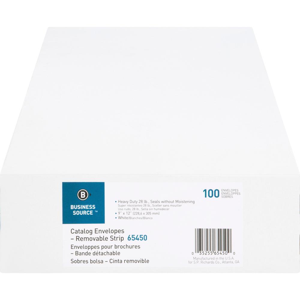 "Business Source Self Sealing Catalog Envelope - Catalog - 9"" Width x 12"" Length - 28 lb - Peel & Seal - Wove - 100 / Box - White. Picture 6"