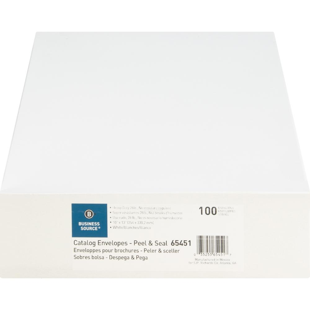 "Business Source Self Sealing Catalog Envelopes - Catalog - 10"" Width x 13"" Length - 28 lb - Peel & Seal - Wove - 100 / Box - White. Picture 9"
