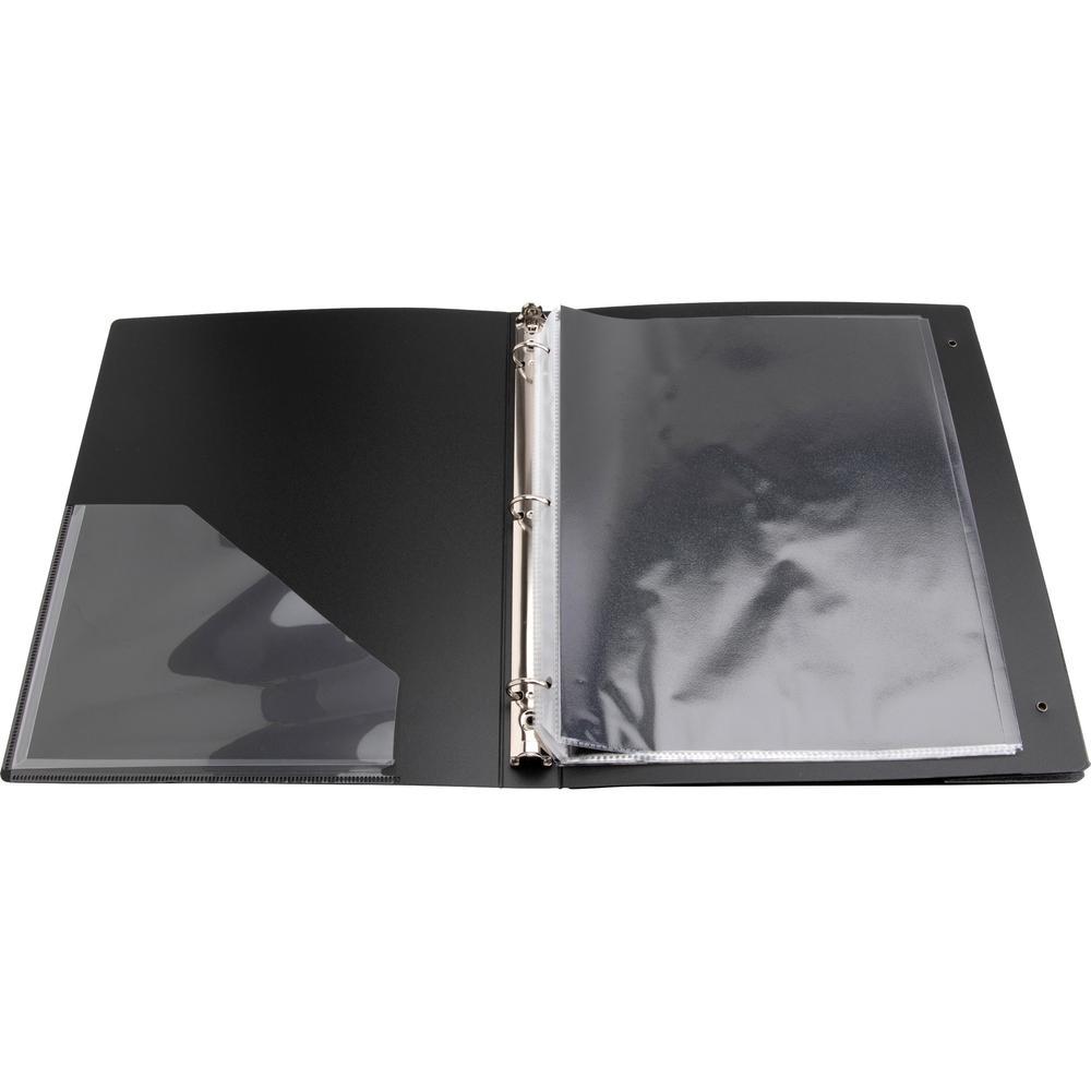 "Business Source Presentation Binder - 1"" Binder Capacity - Letter - 8 1/2"" x 11"" Sheet Size - Ring Fastener(s) - Internal Pocket(s) - Black - Recycled - Business Card Holder, Label Holder - 1 Each. Picture 5"