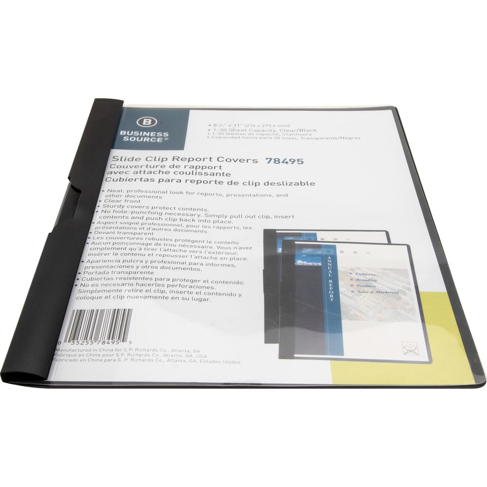 """Business Source Letter Report Cover - 8 1/2"""" x 11"""" - 30 Sheet Capacity - Vinyl - Black - 1 Each. Picture 5"""