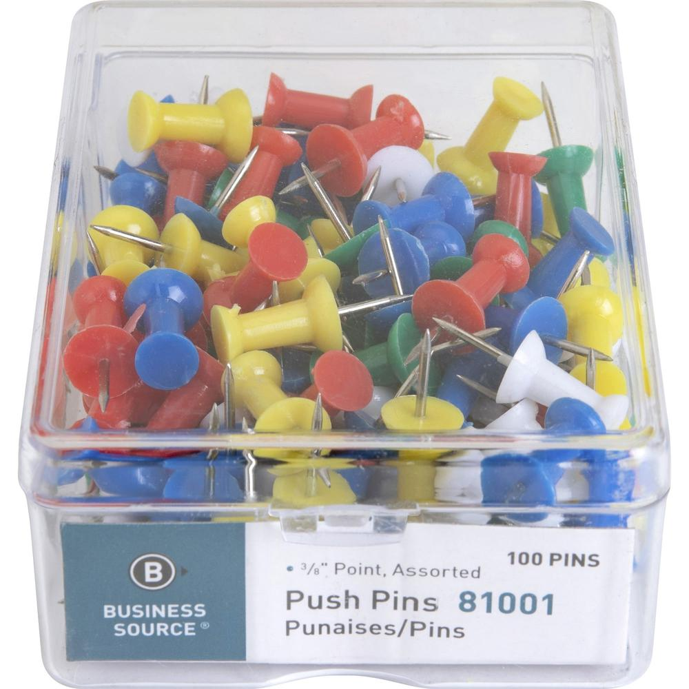 """Business Source 1/2"""" Head Push Pins - 0.50"""" Head - 100 / Box - Assorted - Steel. Picture 2"""