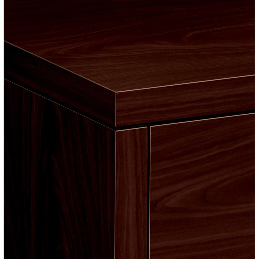 """HON 10500 Series Left Credenza, 72""""W - 2-Drawer - 72"""" x 24"""" x 29.5"""" - 2 x Box Drawer(s), File Drawer(s) - Single Pedestal on Left Side - Square Edge - Material: Wood - Finish: Laminate, Mahogany. Picture 2"""