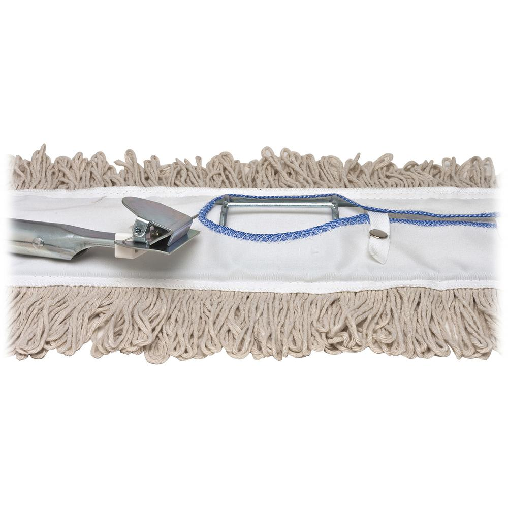 """Genuine Joe Dust Mop Complete Combo - 24"""" Cotton Head - 60"""" x 0.94"""" Wood Handle - Swivel Head, Lightweight, Chrome Plated, Absorbent, Rust Resistant, Reinforced - 1 Each. Picture 4"""