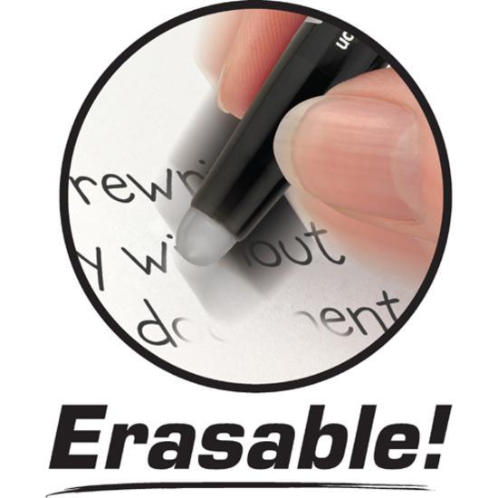 Pilot FriXion Ball Erasable Gel Pens - Fine Pen Point - 0.7 mm Pen Point Size - Black Gel-based Ink - Black Barrel - 12 / Dozen. Picture 4